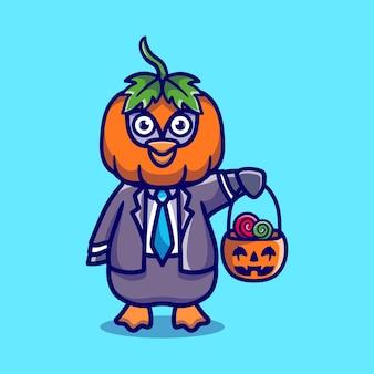 Cute pumpkin penguin brings halloween candy