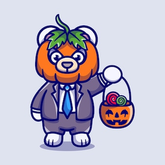 Cute pumpkin polar bear brings halloween candy