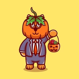 Cute pumpkin tiger brings halloween candy
