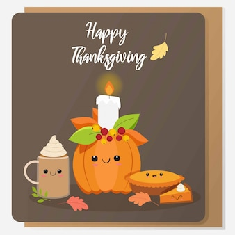 Cute pumpkin and variety food for thankgiving day
