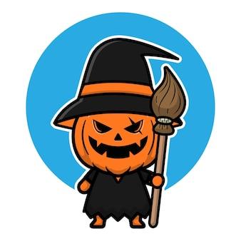 Cute pumpkin witch cartoon icon illustration