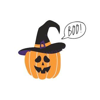 Cute pumpkin in witch hat with boo lettering