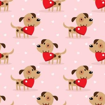 かわいい子犬と大きな赤いハートのシームレスパターン。
