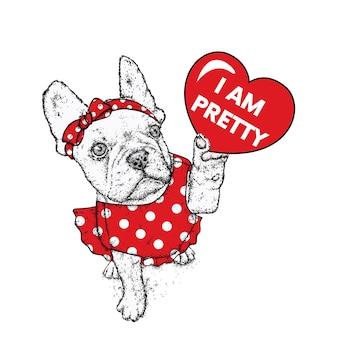バレンタインデーのためのかわいい子犬とハート