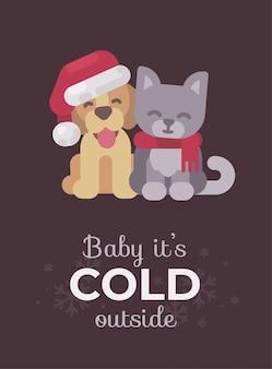 귀여운 강아지와 고양이 크리스마스 인사말 카드. 프리미엄 벡터