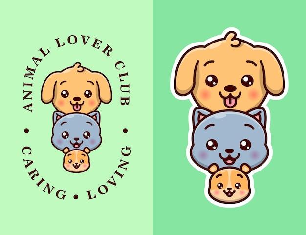 Логотип с милым щенком, кошкой и хомуком с текстом и без текстовой версии.