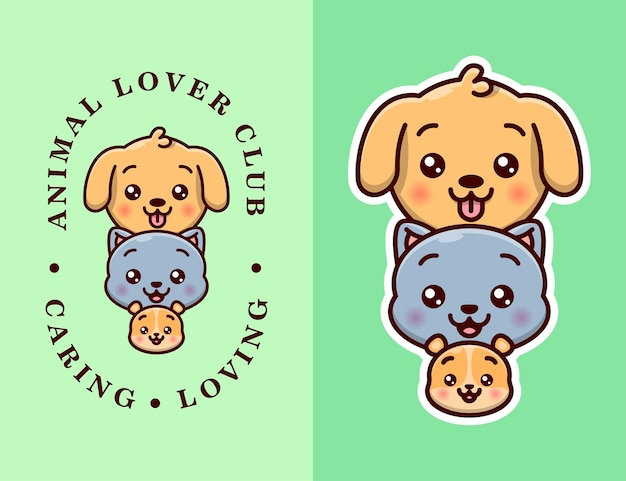 Cute puppy, cat and hamster head logo with text and without text version.