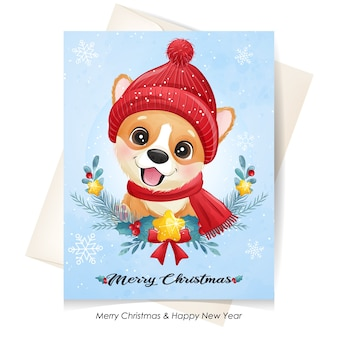 Cute  puppy for christmas with watercolor illustration