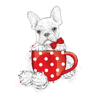 Cute puppy in a cup with marshmallows.