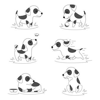 귀여운 강아지 낙서. 그림을 실행하고 적극적으로 노는 애완 동물
