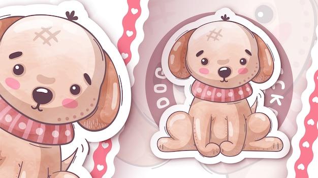 Милый щенок собака смешной стикер рука рисовать