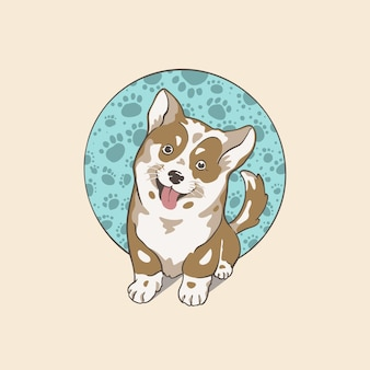 Cute puppy dog logo design