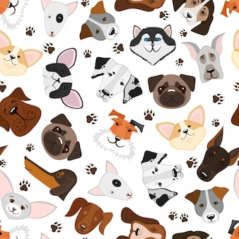 Cute puppy and dog mixed breed seamless pattern. background with breed dog, illustration Free Vector
