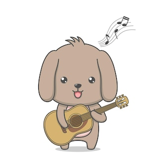 Cute puppy dog playing guitar