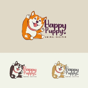Cute puppy dog shelter care logo