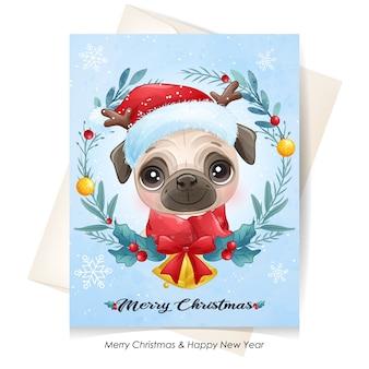 水彩でクリスマスのかわいい子犬
