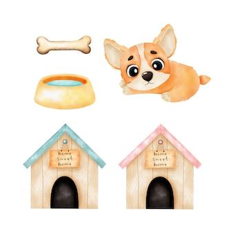 Милый щенок, очки, будка. акварельные иллюстрации, изолированные на белом фоне. акварельные иллюстрации