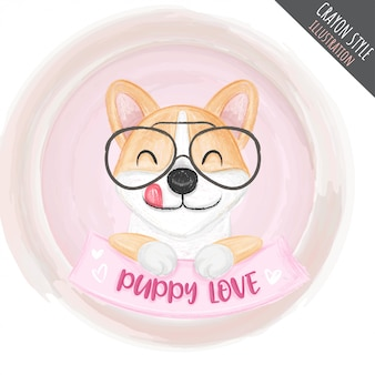 Cute puppy glasses crayon illustration for kids