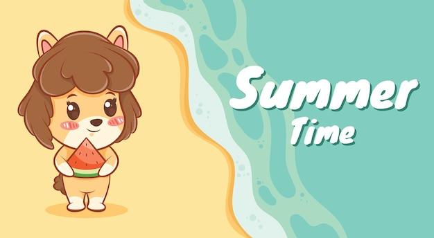 여름 인사말 배너와 함께 수박 조각을 들고 귀여운 강아지