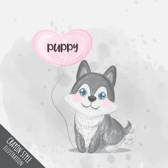 Cute puppy holding heart balloon crayon illustration for kids