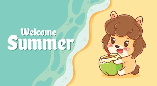 여름 인사말 배너와 함께 젊은 코코넛을 들고 귀여운 강아지