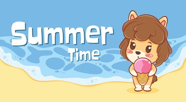 Милый щенок обнимает мороженое с летним поздравительным баннером