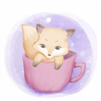 Cute puppy inside the cup
