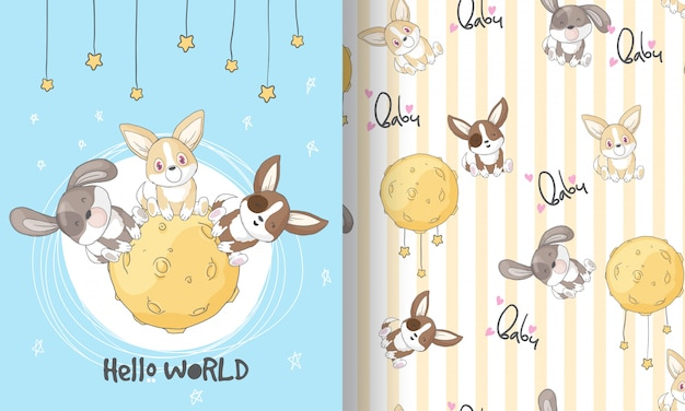Cute puppy on the moon seamless pattern illustration for kids