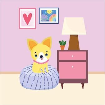 쿠션에 귀여운 강아지