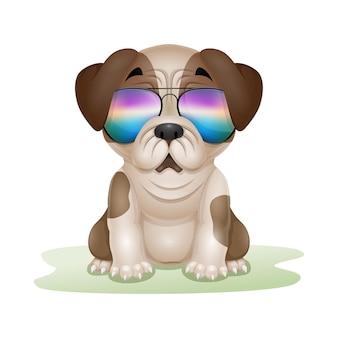 Мультфильм милый щенок мопса в солнцезащитных очках