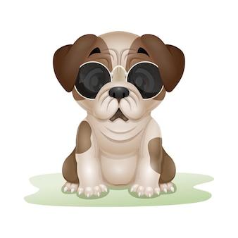 Мультфильм милый щенок мопса, изолированные на белом фоне