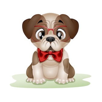 Мультфильм милый щенок мопса в красных очках и банте