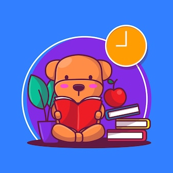 かわいい子犬は本のベクトル図を読む