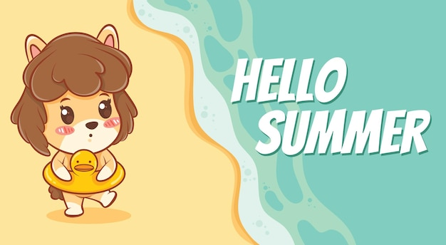Cute puppy and swimming ring with a summer greeting banner