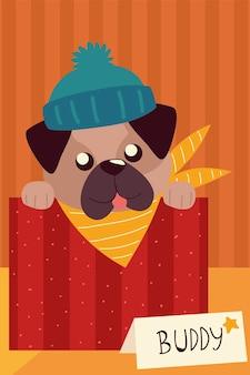 ボックスの動物のイラストで帽子とかわいい子犬の舌