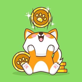 Милый щенок с золотыми монетами