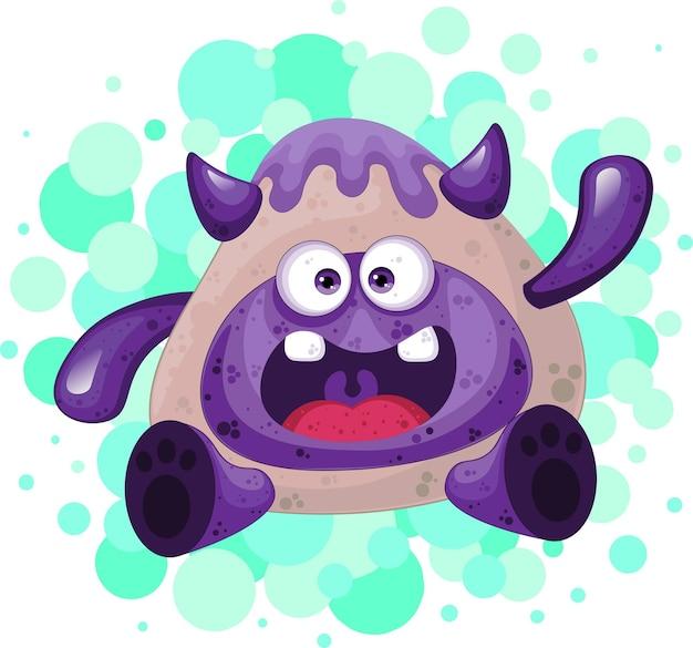 Cute purple alien baby monster