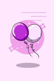 Cute purple balloon icon cartoon illustration