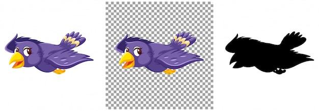 Симпатичная фиолетовая птица мультипликационный персонаж