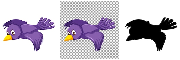 Cute purple bird cartoon character