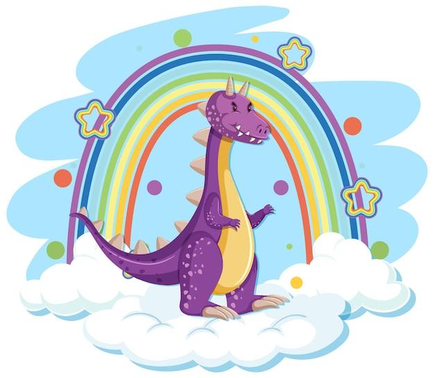 Simpatico drago viola sulla nuvola con arcobaleno