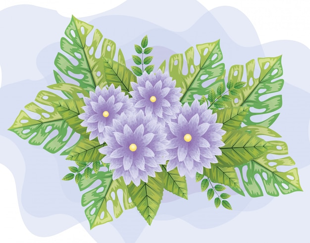 Милые фиолетовые цветы с листьями