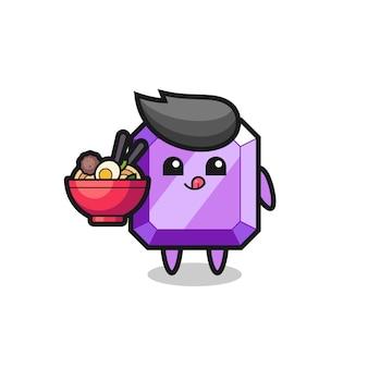 麺を食べるかわいい紫色の宝石のキャラクター、tシャツ、ステッカー、ロゴ要素のかわいいスタイルのデザイン
