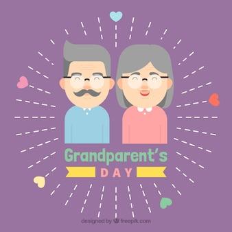 귀여운 보라색 조부모의 날 디자인