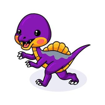 Мультфильм милый фиолетовый маленький динозавр работает