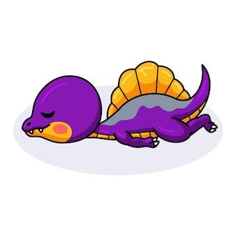 Милый фиолетовый маленький динозавр мультфильм спит