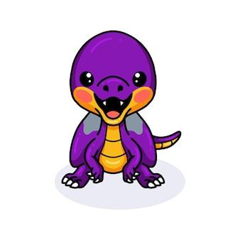Милый фиолетовый маленький мультфильм динозавра