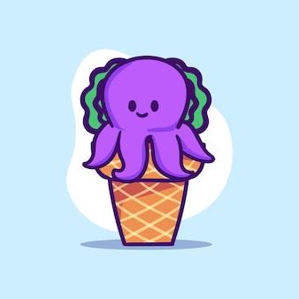 Милый фиолетовый осьминог характер сидеть на иллюстрации конус мороженого