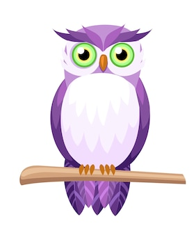Cute purple owl sitting on branch. owl with green eyes. cartoon character .   illustration  on white background