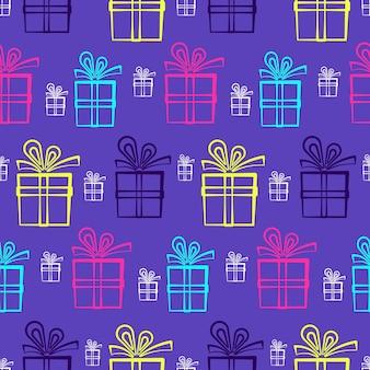 Симпатичный фиолетовый узор с яркими подарочными коробками